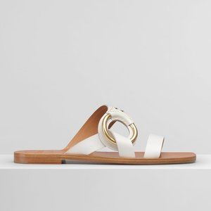 Chloe 'Demi' Buckle Leather Mule Sandals (White)
